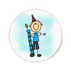 Birthday Boy With Candle T-shirts and Gifts Round Sticker
