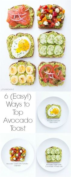 Easy and quick ways to top an avocado toast all with fresh ingredients for break. - Easy and quick ways to top an avocado toast all with fresh ingredients for break… - I Love Food, Good Food, Yummy Food, Healthy Snacks, Healthy Eating, Healthy Recipes, Simple Avocado Recipes, Healthy Fats, Easy Recipes