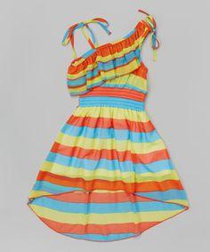 Look what I found on #zulily! Orange Stripe Asymmetrical Dress - Toddler & Girls #zulilyfinds