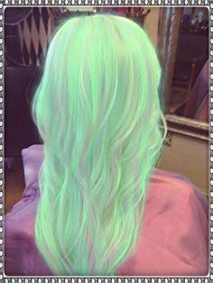 39 Ideas Hair Color Unique Green For 2019 Hair Dye Colors, Cool Hair Color, Love Hair, Gorgeous Hair, Beautiful Beautiful, Grey Balayage, Blonde Ombre Hair, Neon Hair, Mint Hair