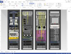 Diagram of data center rack elevations depicting connections within and between racks using NetZoom Visio Stencils Data Center Rack, Data Center Design, Network And Security, Microsoft Visio, Structured Cabling, Technical Documentation, Server Rack, Creative Cv, Drawing Sheet