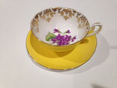 Shelley Tea Cup and Saucer, English Yellow, Violets Cup, Shelley China