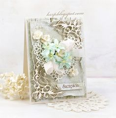 Hello everyone :) Today I'd like to share with you a wedding card. Pretty Cards, Cute Cards, Diy Cards, Wedding Anniversary Cards, Wedding Cards, Mixed Media Cards, Romantic Cards, Shabby Chic Cards, Wild Orchid