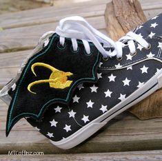 Loki Helmet Embroidered Shoe Wings  MTCoffinz by MTthreadz on Etsy, $10.00