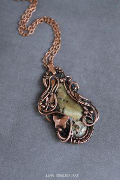 Jasper pendant Wire wrap necklace Wire wrapped by LenaSinelnikArt