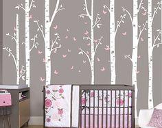 Birch Decal with Butterflies, set of 7 birch trees, Butterfly decal, Nursery Birch Tree, woodland, woods