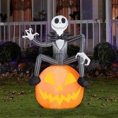 5 tall disney jack skellington with pumpkin halloween airblown inflatable walmartcom