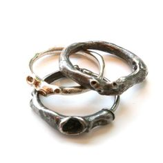 Gallery Lulo, organic silver rings by Johnny Ninos, sterling silver.