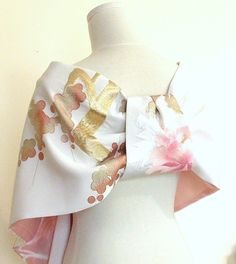 Vintage wedding KIMONO Shawl butterfly peony crane spring flower white pastel pink gold capelet bow OBI size free ready to ship