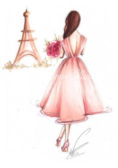 fashion art Greetings from Paris - Watercolor Fashion illustration Available sizes: My prints are perfectly fitting in standard frames. Printed on high quality matte Rivers Tradition Arte Fashion, Fashion Wall Art, Ideias Fashion, Fashion Design, Women's Fashion, Paper Fashion, Fashion Trends, Trendy Fashion, Paris Kunst