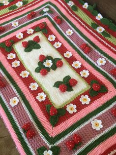 This beautiful strawberry blanket is crocheted from acrylic yarn. The strawberries are full with polyester fiber. Baby Blanket Crochet, Crochet Baby, Knit Crochet, Crochet Ripple, Irish Crochet, Knitting Projects, Crochet Projects, Sewing Projects, Cute Crochet
