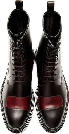 Yang Li: Black  Burgundy Half-Strap Boots