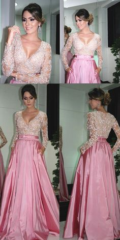 A-Line V-Neck Long Sleeves Pearl Pink Satin Prom Dress with Beading pearl pink prom dresses, long sleeves prom dresses, v neck prom dresses Open Back Prom Dresses, Prom Dresses Long With Sleeves, Pink Prom Dresses, Backless Prom Dresses, Bridal Dresses, Bridesmaid Dresses, Monday Dress, Groom Dress, Pink Satin