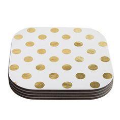 Polka dot metallic coasters are a fun find for a bar. | $18