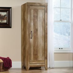 "Sauder Adept 22.68"" Narrow Storage Cabinet in Craftsman Oak"
