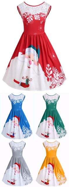 Merry Christmas | Only $13.44  | Santa Claus Print Party Dress | Sammydress.com