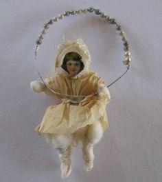 Antique SPUN COTTON & SCRAP GIRL In SWING Ornament! | eBay