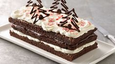 Christmas Peppermint Cream Brownie Torte - Brownies get dressed for a party with layers of peppermint cream and decadent chocolate ganache. Christmas Desserts, Christmas Baking, Christmas Recipes, Christmas Goodies, Holiday Treats, Christmas Time, Holiday Baking, Christmas Ideas, Christmas Cakes