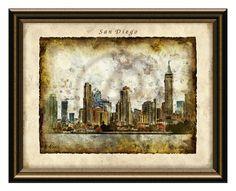 San Diego Skyline Art PrintSan Diego Printable by alexprintableart