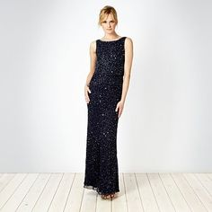 Dark blue seed beaded cowl neck maxi dress - Evening & party dresses - Dresses - Women - #vcukwearyourwardrobe