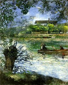 Willows and Figures in a Boat - Pierre-Auguste Renoir  1880