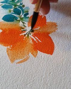 Watercolor Paintings For Beginners, Watercolor Art Lessons, Watercolor Drawing, Watercolor Techniques, Watercolor Landscape, Watercolor Flowers Tutorial, Watercolour Tutorials, Flower Tutorial, Guache