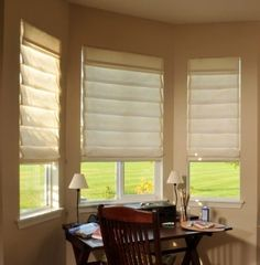 Custom Roman Shades as a Window Treatment Option! Window Coverings, Window Treatments, Outside Mount Roman Shades, Farmhouse Roman Shades, Dinner Room Table, Black Gold Bedroom, Relaxed Roman Shade, Custom Roman Shades, Window Casing