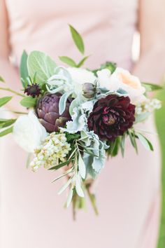 Garden inspired bridesmaid bouquet: http://www.stylemepretty.com/california-weddings/huntington-beach/2014/09/24/1950s-inspired-al-fresco-garden-wedding/   Photography: Koman Photography - http://komanphotography.com/