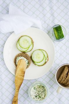"""Cucumber sandwiches on rye """"bread"""" with herb """"cream cheese"""""""