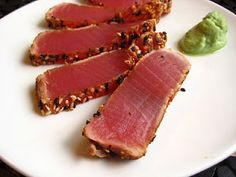 Pretty please! Seared ahi with a pinch of wasabe.