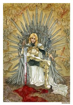 Jaime on the throne after killing The Mad King.