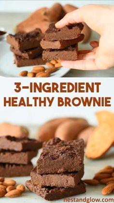 3 Ingredient Healthy Brownies Recipe - easy sweet potato chocolate brownies made. - 3 Ingredient Healthy Brownies Recipe – easy sweet potato chocolate brownies made from just a few - Vegan Baking, Healthy Baking, Paleo Vegan, Vegan Gluten Free Desserts, Raw Vegan, Brownies Sains, Healthy Brownies, Sweet Potato Brownies Vegan, Sweet Potato Cookies