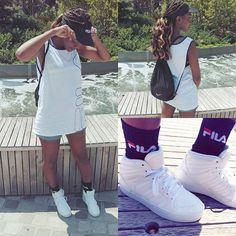 Fila ❤  #ootd #style #fashion #fashionblogger #fila #outfit #instalike #instastyle #adidas #braids #hair #kicks #sneakers #photo #photooftheday #like4like #instadaily #instagramers #vintage #90sfashion #90s #スタイル #コーディネート #コーデ #ファッション #streetstyle