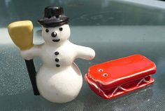 Miniature Snowman & Sled Salt & Pepper