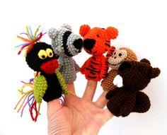 5 finger puppet, crocheted tiger, bird, racoon, monkey, castor, jungel animals, tiny amigurumi, cute, for kids, brown orange. $40.00, via Etsy.