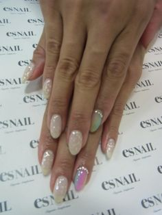 Very pretty and simple, yet elegant nails... Maybe for a wedding or special occasion