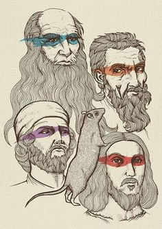 I probably shouldn't love this as much as I do! Raphael, Michaelangelo, Donatello, and Leonardo!!