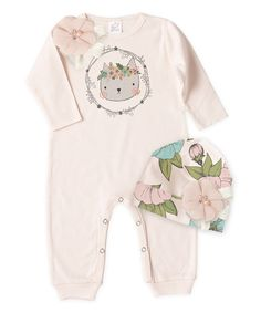 Loving this Truffles Ruffles Blush Cat Playsuit & Country Blossom Beanie - Infant on #zulily! #zulilyfinds