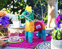 Mexican Burro piñata, fiesta supplies, bohemian Cinco de Mayo decor, traditional donkey, boho chic style, perfect for a birthday party!