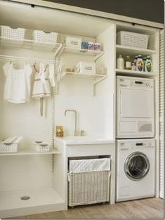 70 drying room design ideas that you can try in your home page 35 Basement Laundry, Small Laundry Rooms, Laundry Closet, Laundry Room Organization, Laundry Room Design, Laundry In Bathroom, Laundry Room Tables, Ikea Laundry, Laundry Room Remodel