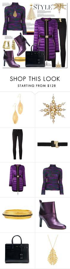 """Straight Into Style: Purple & Black"" by helenaymangual ❤ liked on Polyvore featuring Aurélie Bidermann, Dondup, Roksanda, Versace, Issey Miyake Cauliflower, Jose & Maria Barrera, Golden Goose, Yves Saint Laurent, Hueb and Bling Jewelry"