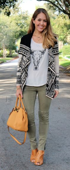 Aztec sweater + graphic tee + olive cargo pants