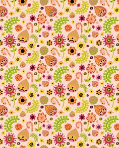 cute floral pattern lime green grapefruit pink citrus crush