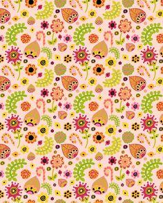 cute floral pattern lime green grapefruit pink citrus crush