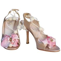 Pre-Owned Dior Beige Cloth Sandals Christian Dior, Sandals Outfit, Beige, French Fashion, Peep Toe, Stylists, Cloth Sandals, Luxury, Heels