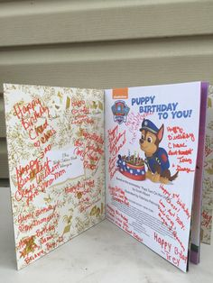 My Son's 3rd Birthday Paw Patrol Party. I purchased this book from Amazon and had all of the guests sign it for him!