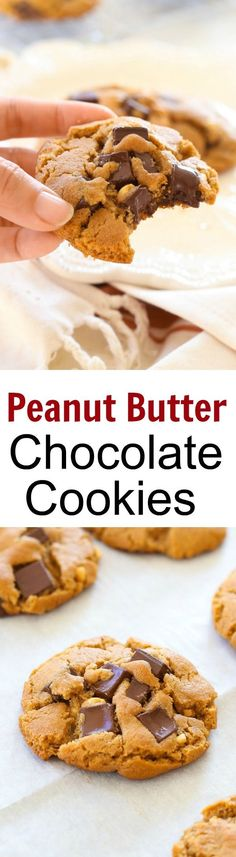 Peanut Butter Dark Chocolate Cookies – buttery cookies loaded with chocolate and peanut butter. So delicious you can't stop eating. Homemade Cookies, Yummy Cookies, Yummy Treats, Gourmet Cookies, Xmas Cookies, Sweet Treats, Easy Delicious Recipes, Delicious Desserts, Yummy Food