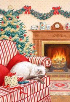 Cat Christmas Cards, Hello Kitty Christmas, Christmas Scenes, Noel Christmas, Merry Little Christmas, Christmas Animals, Christmas Greetings, Xmas, Illustration Noel