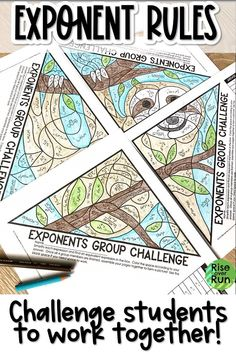Students love this group coloring activity!  They have to use laws of exponents to simplify and find equivalent expressions.  Includes integer exponents, product rule, quotient rule, and power rule.  4 group members complete their own work and join to create a picture of sloth.  Engaging for 8th grade math or Algebra 1. Color Activities, Math Activities, Equivalent Expressions, Math Groups, 8th Grade Math, Algebra 1, Cooperative Learning, Student Motivation, Math Concepts