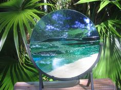 DEEP CALM - Fused glass in stained glass style beach blue ocean scene